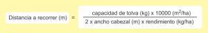 Fórmula para calcular el recorrido y obtener el 50 % de carga en tolva.