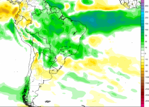 Mapa de tendencia de lluvias para Sudamérica en los meses de Enero y Febrero. En colores verdes y azules se presentan las anomalías de lluvia positivas, mientras que en colores amarillos y marrones se expresan las zonas con lluvias por debajo de los niveles normales.