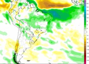 Mapa de tendencia de lluvias para Sudamérica en los meses de Marzo y Abril. En colores verdes y azules se presentan las anomalías de lluvia positivas, mientras que en colores amarillos y marrones se expresan las zonas con lluvias por debajo de los niveles normales.
