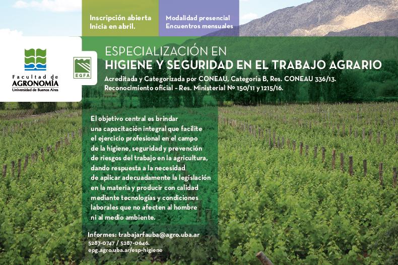Comenzó la inscripción para  Higiene y Seguridad en el Trabajo Agrario